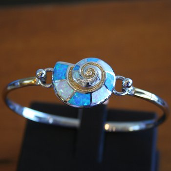 Sterling Silver Nautilus Shell Bangle Topper with Kyocera Lab Created Opal