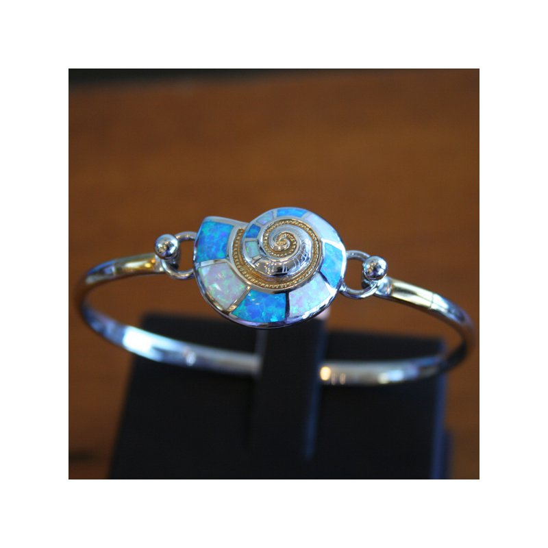 Kovel Sealife Sterling Silver Nautilus Shell Bangle Topper with Kyocera Lab Created Opal