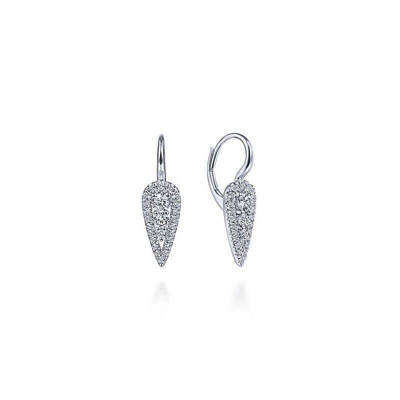 Signature Collection 14k White Gold Diamond Dangle Earrings by Gabriel NY - Style #EG13645W