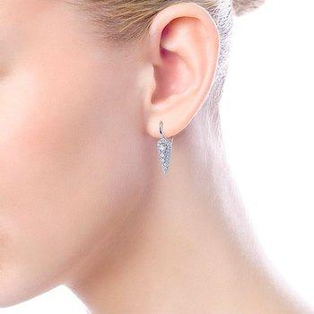 14k White Gold Diamond Dangle Earrings by Gabriel NY - Style #EG13645W