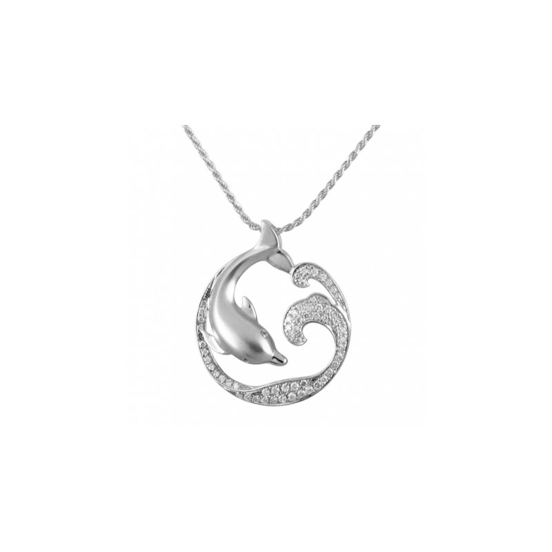 Sealife Jewelry Alamea 14k White Gold Diving Dolphin Pendant with Diamond Pave'