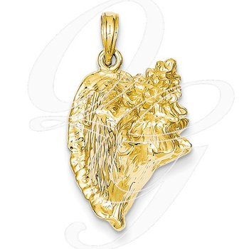 Quality Collection 14k Yellow Gold 3-D Conch Shell Pendant