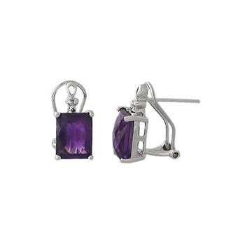 Genuine Amethyst and Diamond Earrings in 18k White Gold