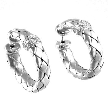 18k White Gold Woven Diamond Hoop Earrings - #27829