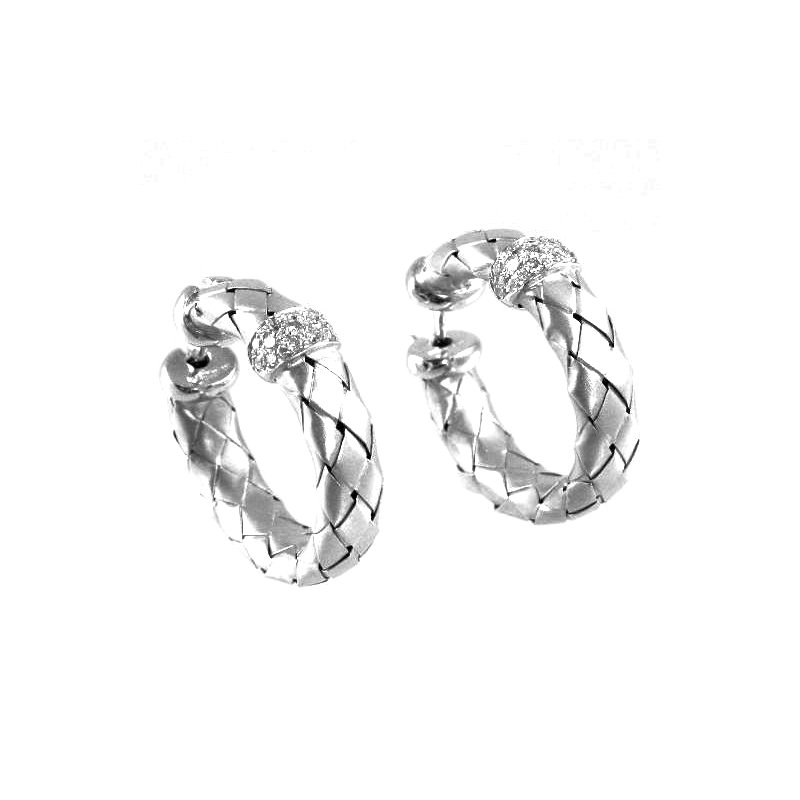Signature Collection 18k White Gold Woven Diamond Hoop Earrings - #27829