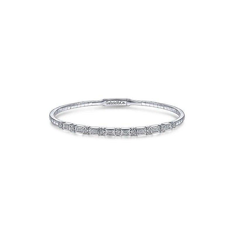 Signature Collection 14k White Gold Emerald Cut and Round Brilliant Diamond Flexible Bangle Bracelet