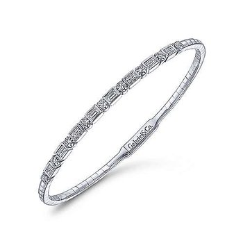 14k White Gold Emerald Cut and Round Brilliant Diamond Flexible Bangle Bracelet