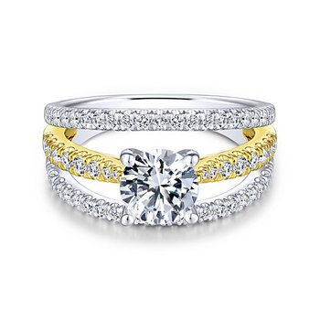 14k Yellow and White Gold Split Shank Triple Band Diamond Engagement Ring by Gabriel NY