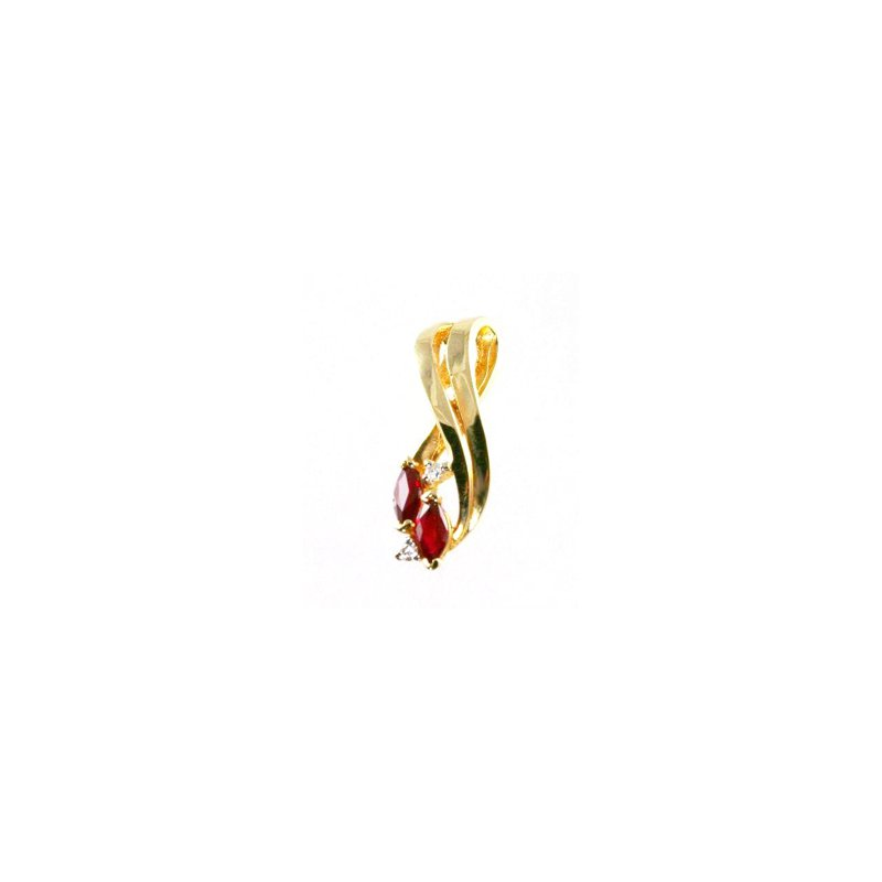 Signature Collection Genuine Ruby & Diamond Pendant in 14k Yellow Gold - 17717
