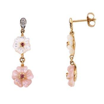 Genuine Pink Tourmaline, Mother Of Pearl & Diamond Earrings