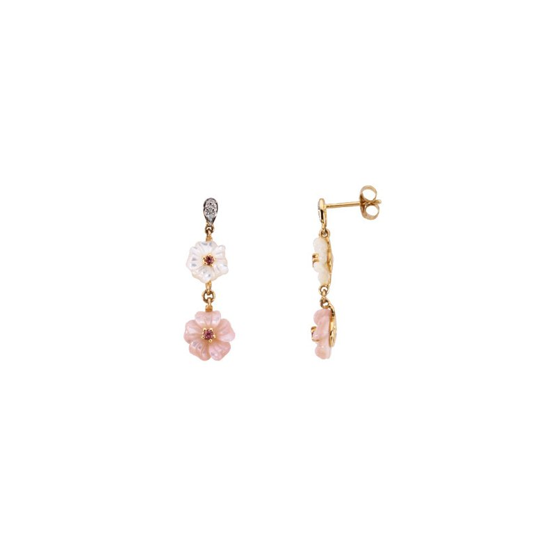 Signature Collection Genuine Pink Tourmaline, Mother Of Pearl & Diamond Earrings