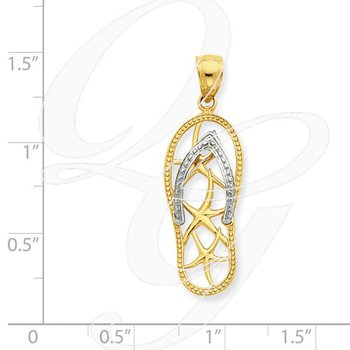 Quality Collection Sealife 14k Yellow and White Gold Flip Flop Pendant