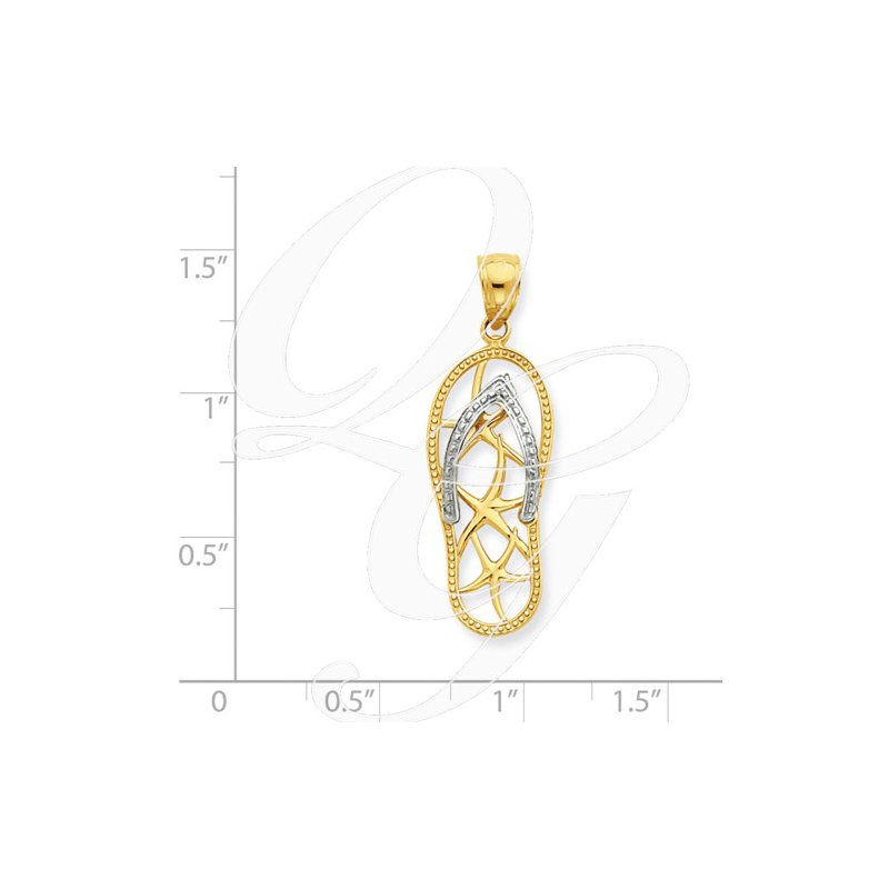 Sealife Jewelry Quality Collection Sealife 14k Yellow and White Gold Flip Flop Pendant
