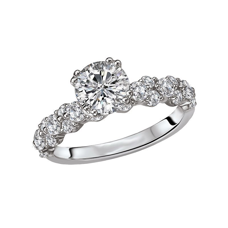 Signature Collection 14k White Gold Texture Set Diamond Engagement Ring