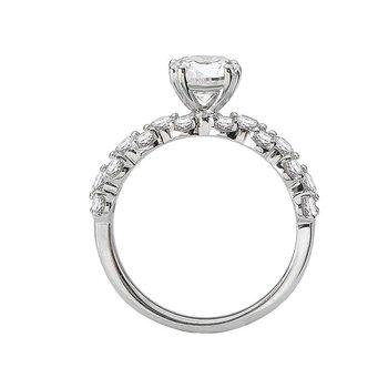 14k White Gold Texture Set Diamond Engagement Ring