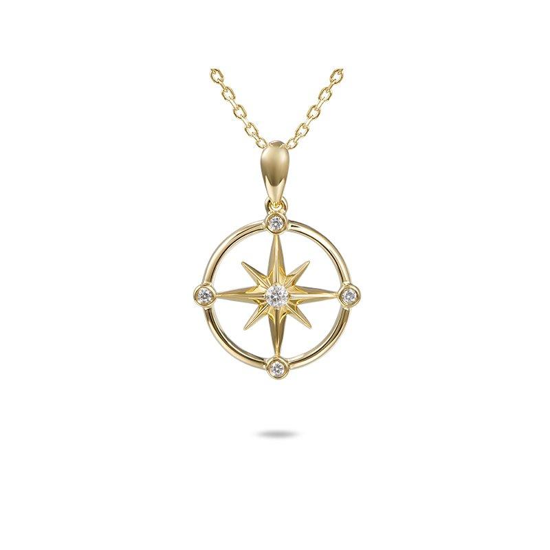 Sealife Jewelry 14k Yellow Gold Compass Pendant with Diamonds