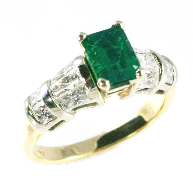 Signature Collection 14k White and Yellow Gold Colombian Emerald and Baguette Diamond Ring - #10653