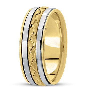 Unique Settings HM136 - Y - W - 14k Yellow and White Gold Handmade Handwoven 8mm Men's Wedding Band