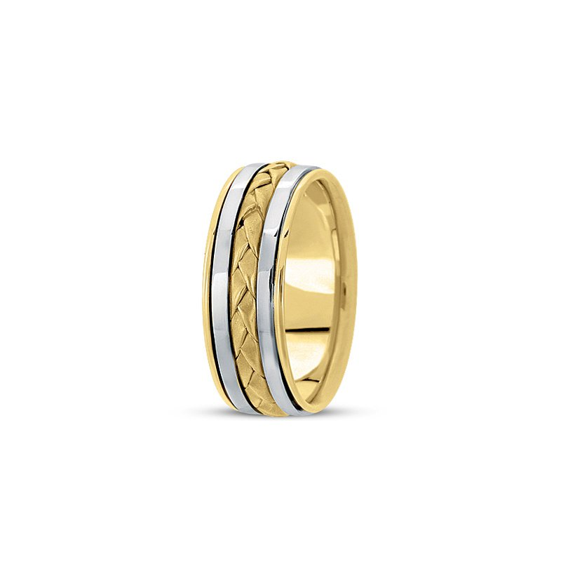 Unique Settings Unique Settings HM136 - Y - W - 14k Yellow and White Gold Handmade Handwoven 8mm Men's Wedding Band