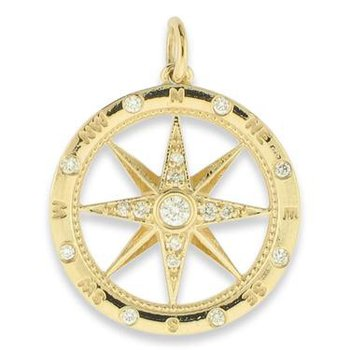 14k Yellow Gold Diamond Compass Pendant
