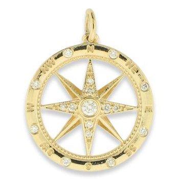 14k Yellow Gold Diamond Compass Pendant