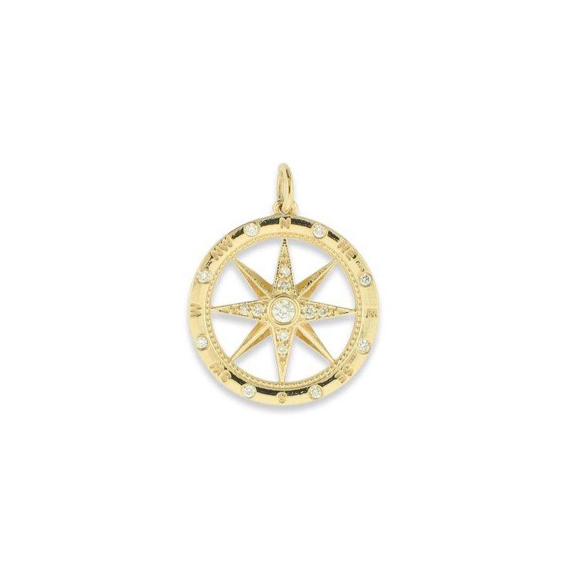 Sealife Jewelry 14k Yellow Gold Diamond Compass Pendant