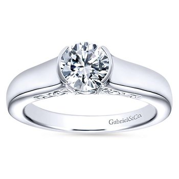 Akira 14k White Gold Partial Bezel Set Solitaire Engagement Ring by Gabriel NY
