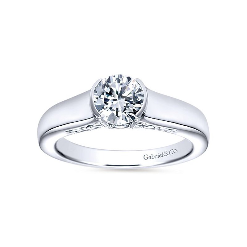 Gabriel NY Akira 14k White Gold Partial Bezel Set Solitaire Engagement Ring by Gabriel NY