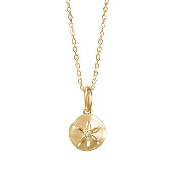 14k Yellow Gold Sand Dollar Pendant with a Round Diamond