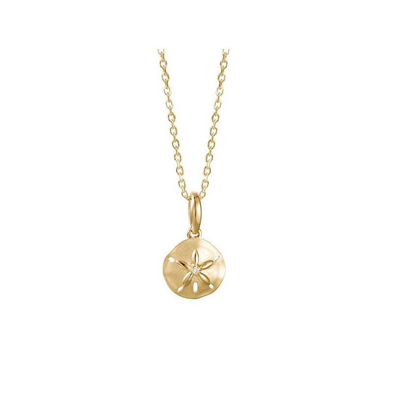 Sealife Jewelry 14k Yellow Gold Sand Dollar Pendant with a Round Diamond