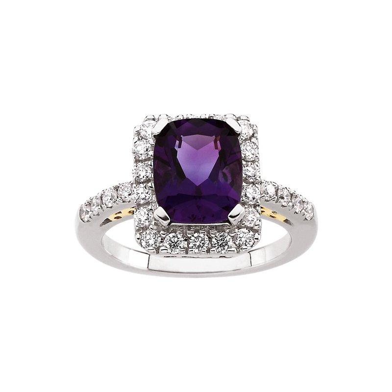 Signature Collection Genuine Amethyst & Diamond Ring