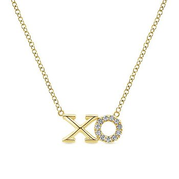 14k Yellow Gold Eternal Love XO Necklace by Gabriel NY