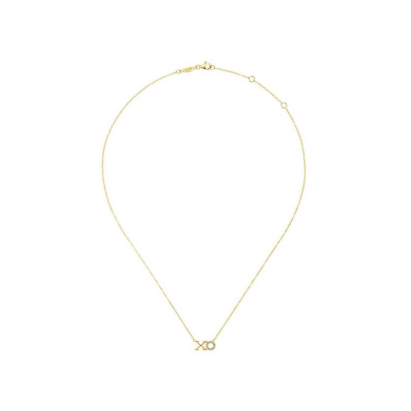 Signature Collection 14k Yellow Gold Eternal Love XO Necklace by Gabriel NY