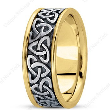 Unique Settings HM222 - W - Y - 14k Yellow and White Gold Handmade Celtic Design 8mm Men's Wedding Band