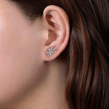 14k White Gold Whimsical Diamond Leaf Stud Earrings by Gabriel NY
