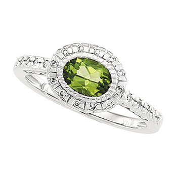 Genuine Peridot & Diamond Ring