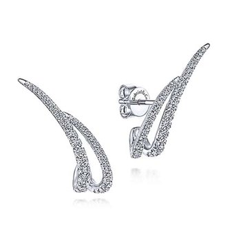 14k White Gold Diamond Ear Climbers by Gabriel NY