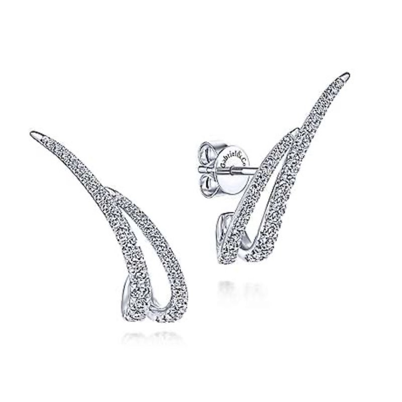 Signature Collection 14k White Gold Diamond Ear Climbers by Gabriel NY