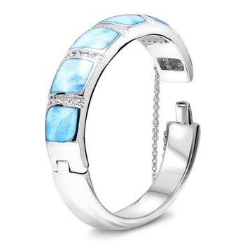 Marahlago Larimar Marina Collection Bangle Bracelet with Larimar and White Topaz