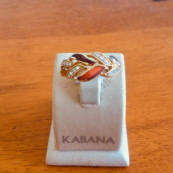 14k Yellow Gold Spiny Multi-Color Mother of Pearl & Diamond Ring by Kabana