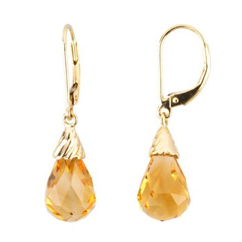 Genuine Checkerboard Citrine Briolette Earrings