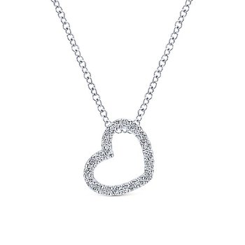 14k White Gold Diamond Heart Necklace by Gabriel NY - Style #NK2239W