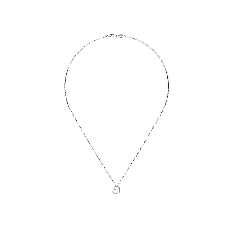 Signature Collection 14k White Gold Diamond Heart Necklace by Gabriel NY - Style #NK2239W