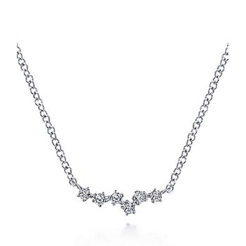 Gabriel NY 14k White Gold Diamond Bar Necklace