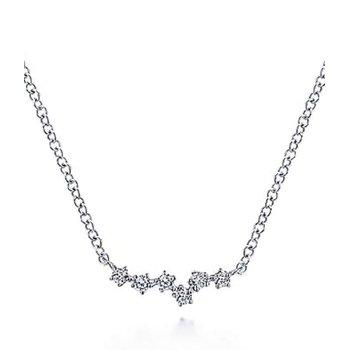 Gabriel NY 14k White Gold Diamond Bar Necklace
