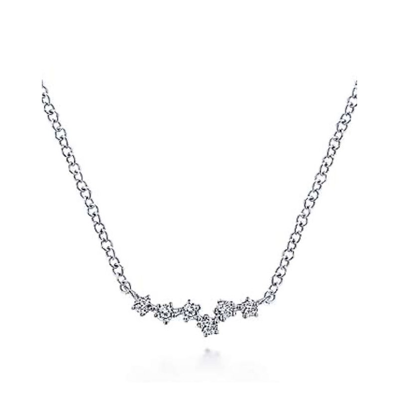 Signature Collection Gabriel NY 14k White Gold Diamond Bar Necklace