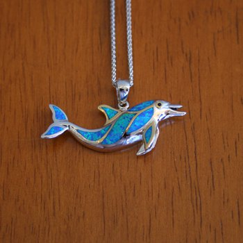 Kovel Sea Life Collection Swimming Dolphin Pendant with Lab Created Opal