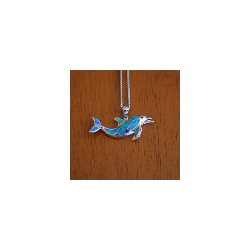 Kovel Sealife Kovel Sea Life Collection Swimming Dolphin Pendant with Lab Created Opal