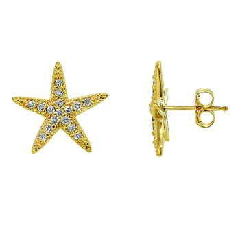 14k Yellow Gold Diamond Starfish Earrings