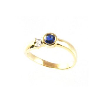 Genuine Blue Sapphire and Diamond Ring in 18k Yellow Gold - 08287S
